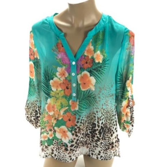 51a26776ed4 Soft Surroundings Tops | Womens Turquoise Floral Top | Poshmark